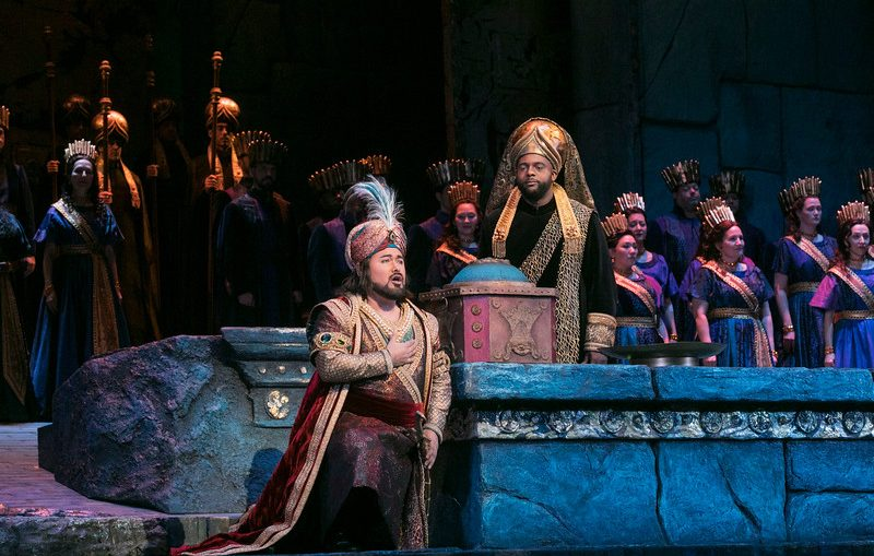 "Javier Camarena as Idreno and Ryan Speedo Green as Oroe in Rossini's ""Semiramide."" Photo: Ken Howard / Met Opera"