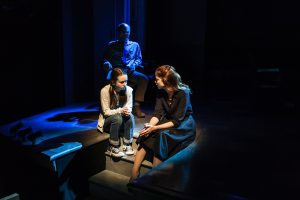 Rileigh McDonald, Charlotte Hope, Ed Harris (back) in David Rabe's Good for Otto, directed by Scott Elliott. Photo credit: Monique Carboni.