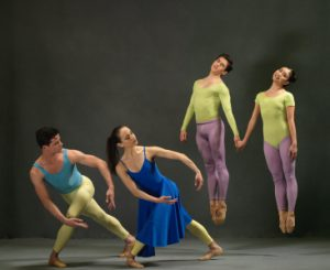 (L to R): Javier Morera, Nicole Graniero, Alexandros Pappajohn, and Tamako Miyazaki in Duets. Photo: Dean Alexander for The Washington Ballet