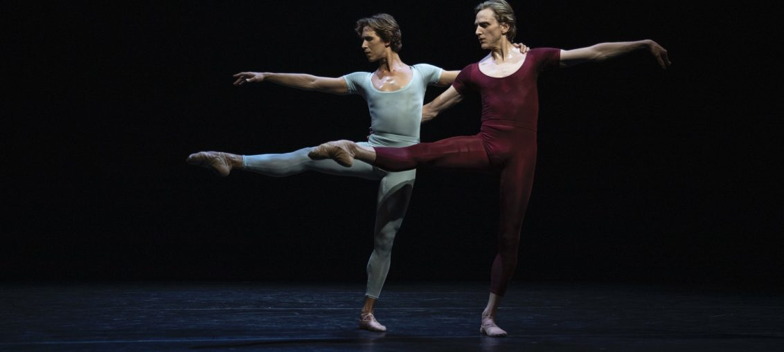 "Joseph Gordon (in blue) & David Hallberg (in maroon) in ""Songs of a Wayfarer"" Photo: Maria Baranova"