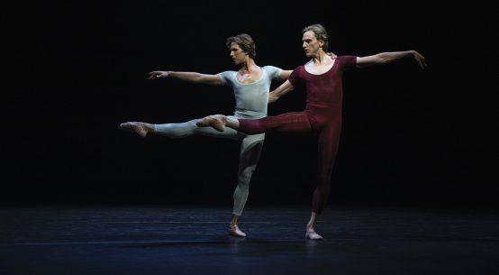 "Joseph Gordon (in blue) & David Hallberg (in maroon) in ""Songs of a Wayfarer"" Photo: Maria Baranova"