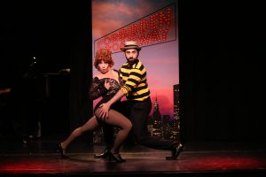 Jenny Lee Stern (left) as Gwen Verdon and Chris Collins-Pisano (right) as Bob Fosse in a scene from FORBIDDEN BROADWAY: THE NEXT GENERATION at the Triad Theatre.